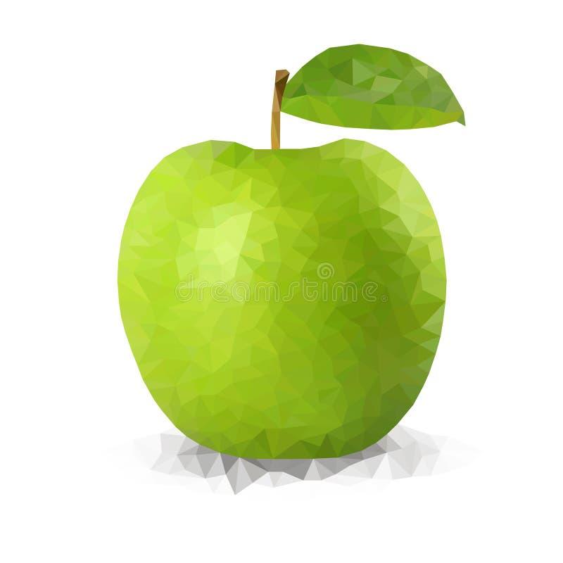 Maçã poligonal verde do vetor ilustração royalty free