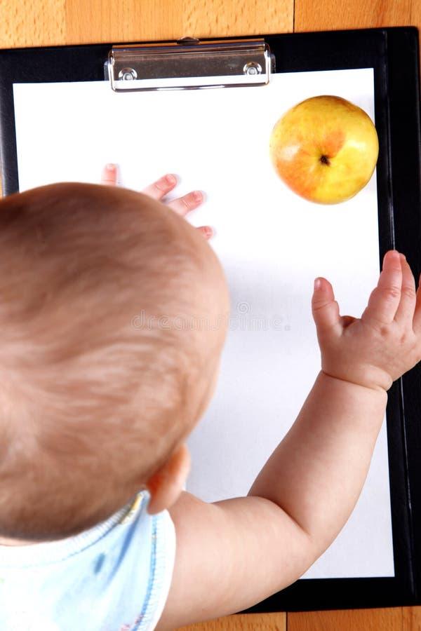 Maçã tomada bebê fotos de stock
