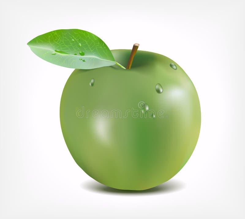 A maçã verde com água deixa cair - a ilustração da malha do inclinação ilustração stock