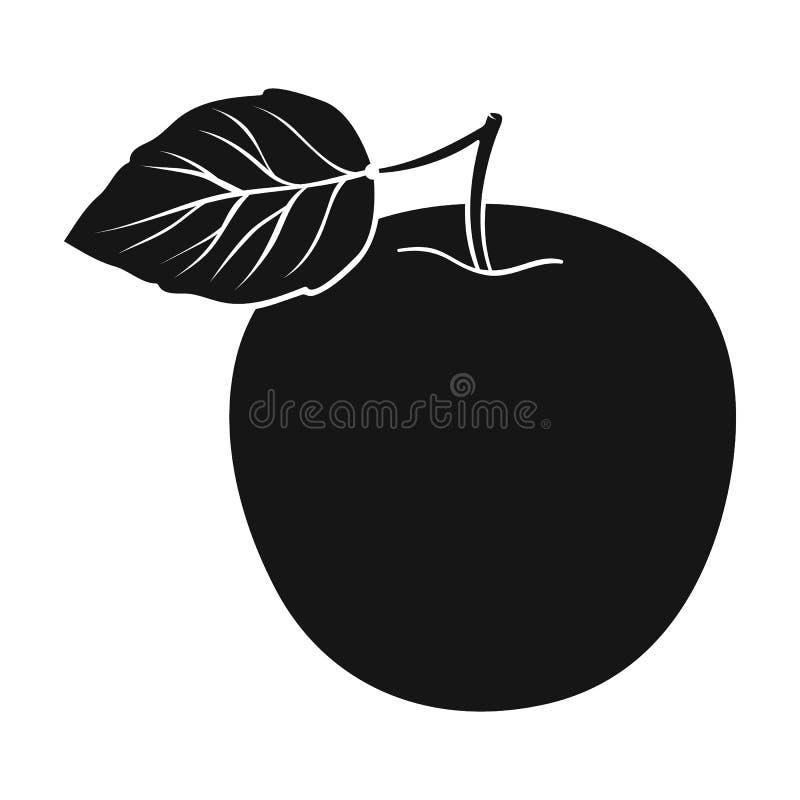 Maçã verde com folha Dieta apropriada para o diabetes Único ícone do diabetes na ilustração preta do estoque do símbolo do vetor  ilustração royalty free