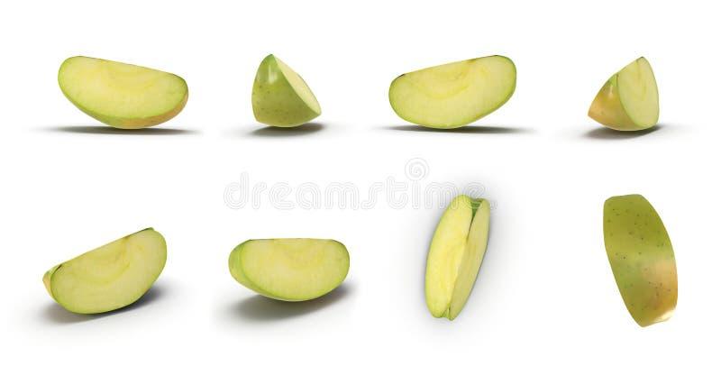 Maçã verde cortada isolada no branco em ângulos diferentes ilustração 3D ilustração stock