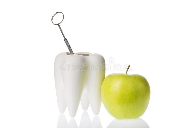 Maçã verde perto do modelo branco do dente com o instrumento deltal do espelho Isolado no branco Higiene dental oral fotografia de stock