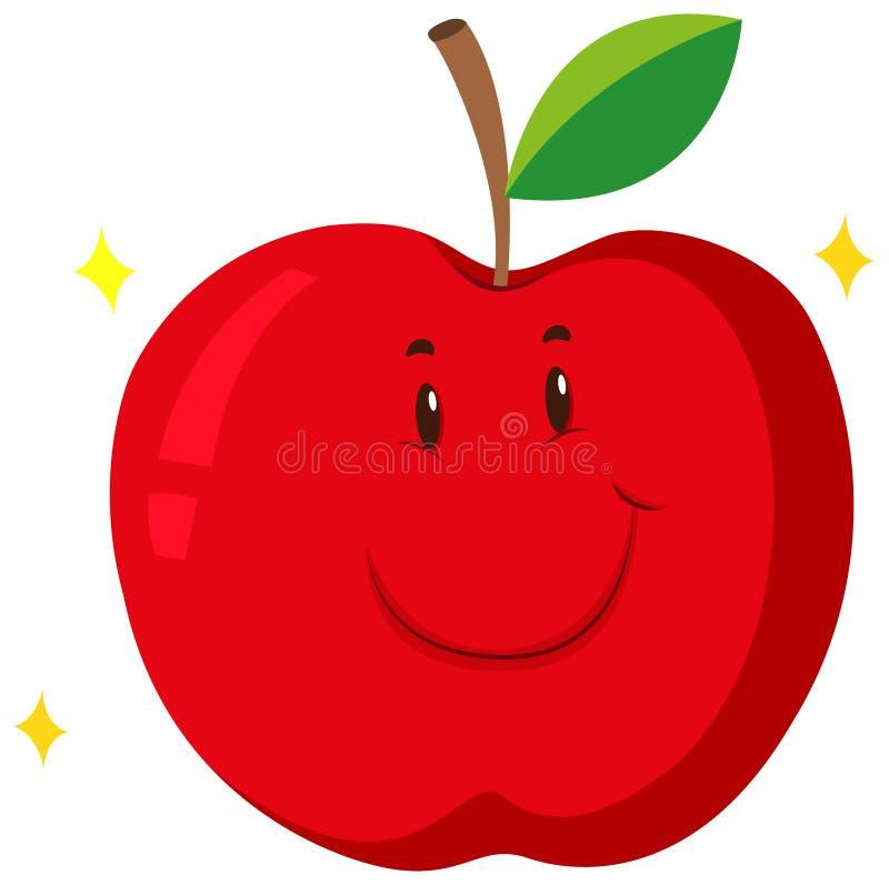 Maçã vermelha com cara feliz ilustração royalty free