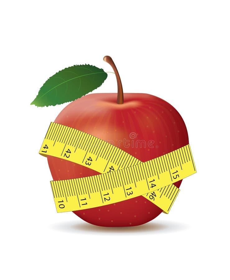 Maçã vermelha com fita de medição ilustração do vetor