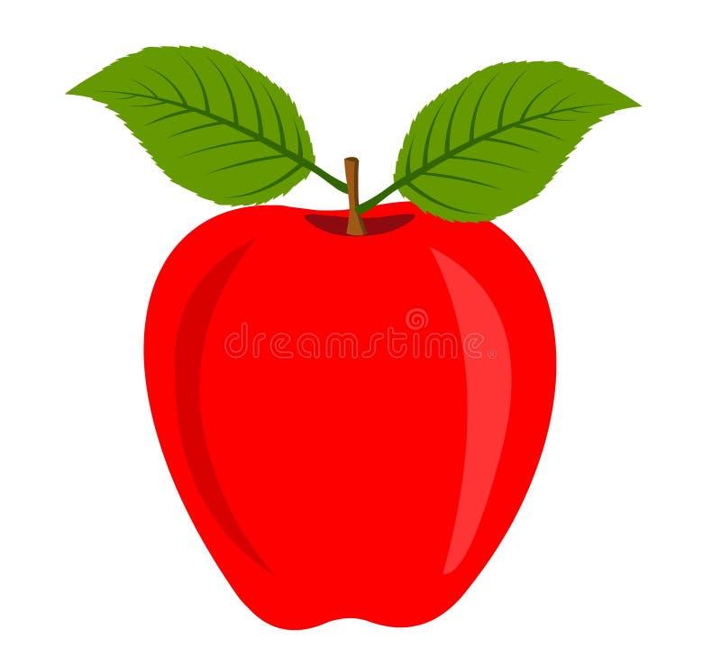 Maçã vermelha com folha ilustração do vetor