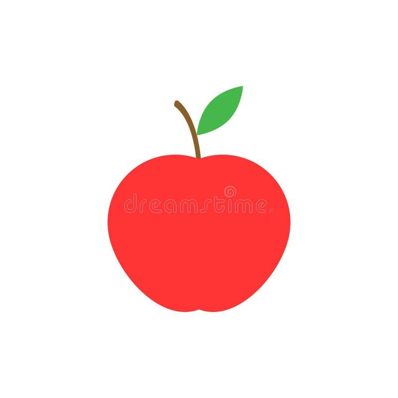 Maçã vermelha com folha isolada sobre fundo branco Ilustração vetorial ilustração royalty free