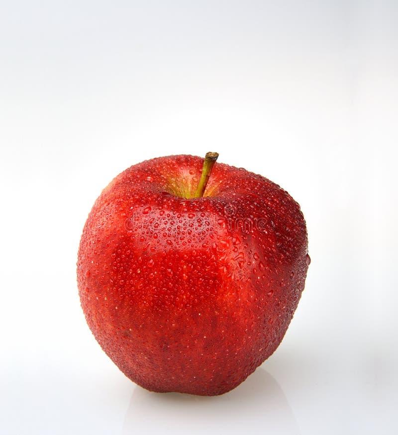 Maçã vermelha com gotas da água fotografia de stock