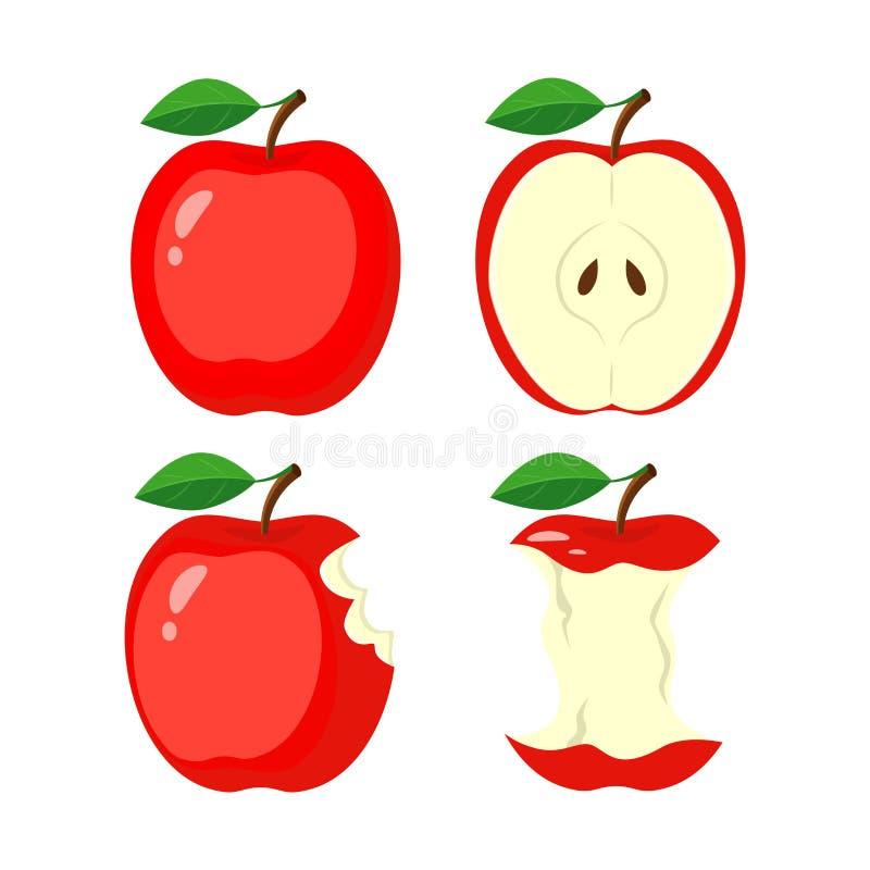 Maçã vermelha inteira, meia fatia da maçã, maçã mordida, topo Vetor IL ilustração royalty free