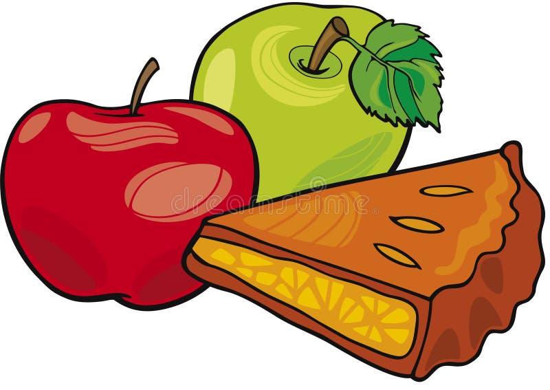 Maçãs e torta de maçã ilustração royalty free