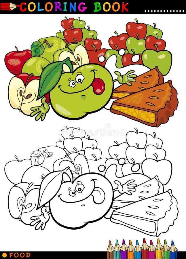 Maçãs e torta para a coloração ilustração stock