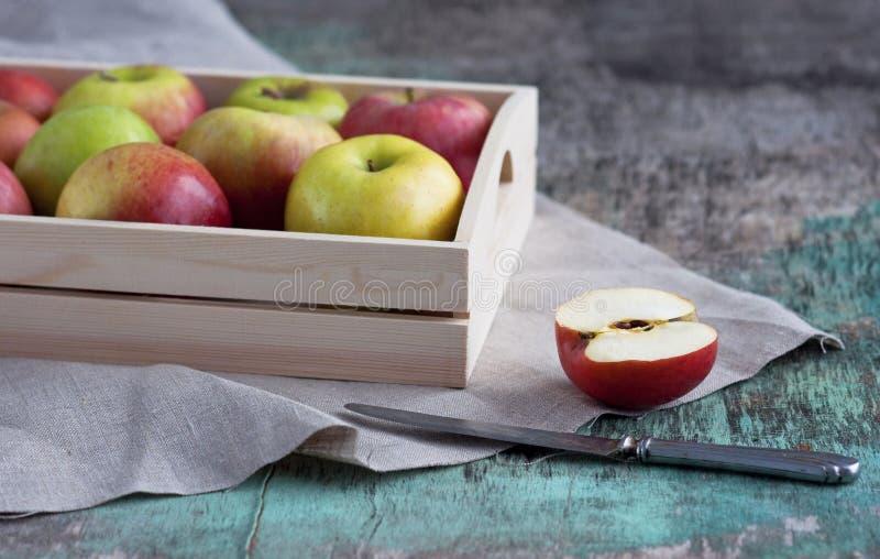 Maçãs frescas em uma bandeja em um fundo de madeira As maçãs são vermelhas, verde, amarelo Vegetariano comendo saudável das vitam foto de stock