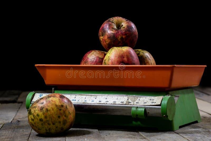 Maçãs saborosos e escalas velhas da cozinha em uma tabela de madeira Cozinha s fotografia de stock royalty free