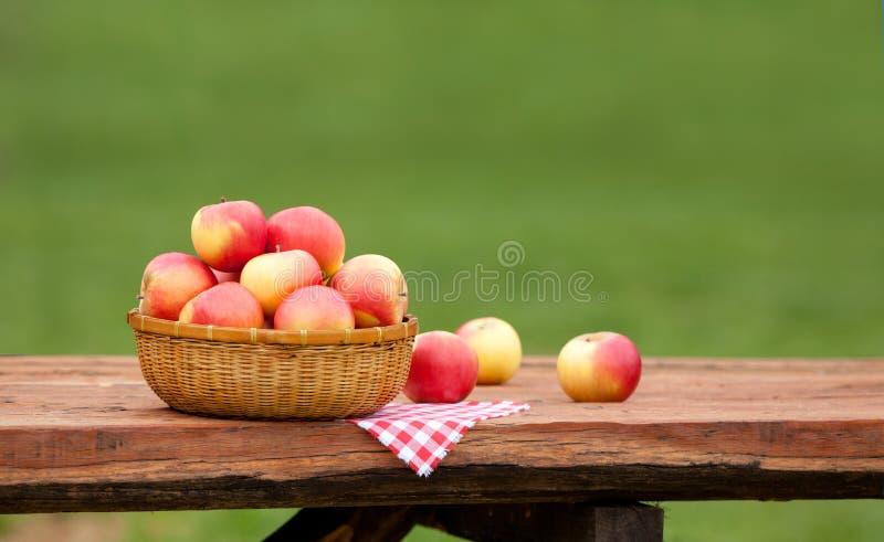 Maçãs vermelhas e amarelas na cesta na tabela de madeira áspera fotografia de stock royalty free