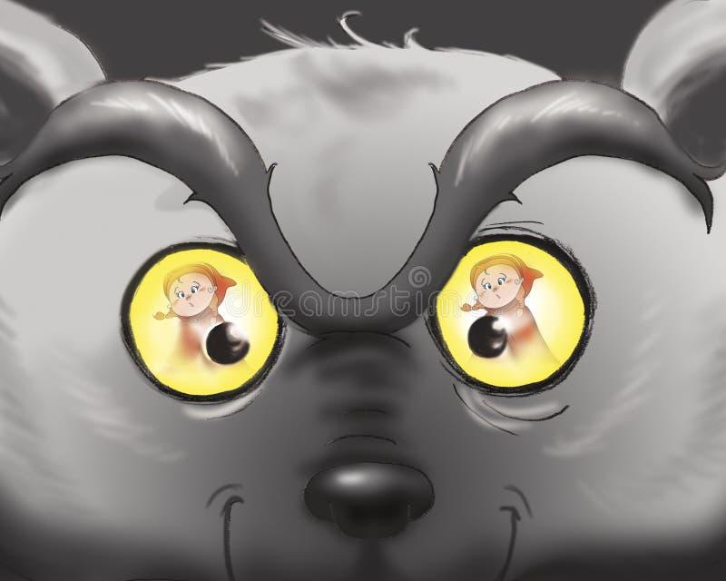 Mán cierre del lobo para arriba ilustración del vector