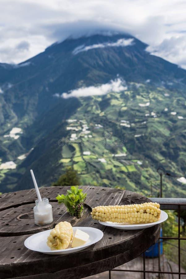 Maíz blanco con el queso joven - comida típica en los Andes fotos de archivo libres de regalías