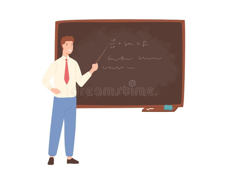 Maître d'école masculin de inspiration, professeur d'Université ou travailleur éducatif se tenant près du tableau, tenant l'indic illustration libre de droits