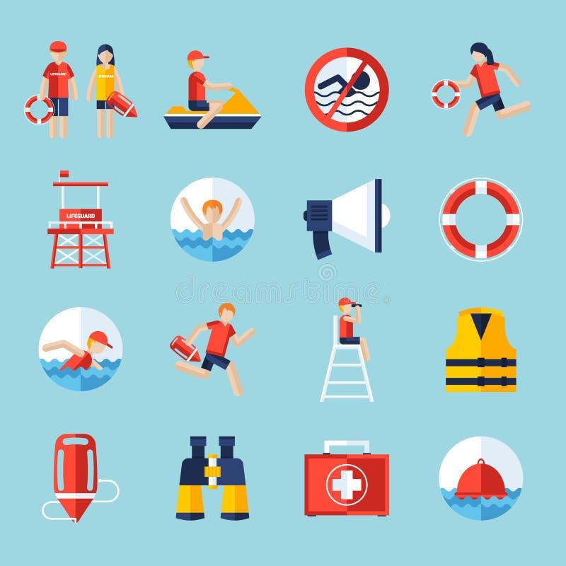 Maître nageur Icons Set illustration de vecteur