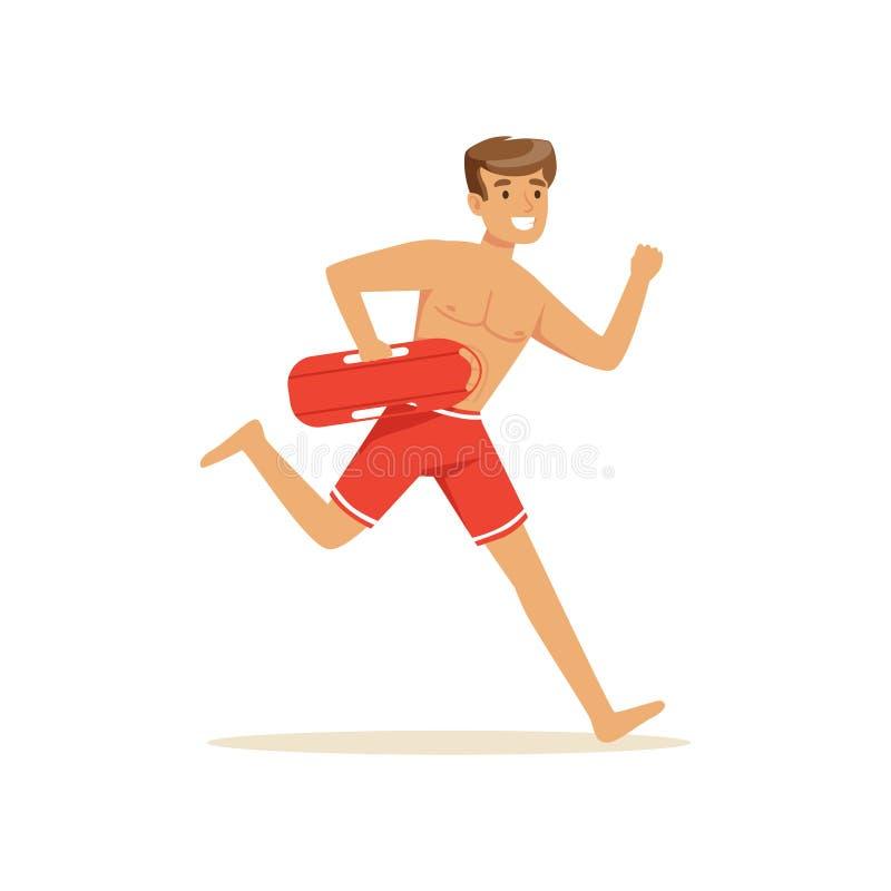 Maître nageur masculin dans des shorts rouges fonctionnant avec la balise de conservateur de vie, sauveteur professionnel sur l'i illustration de vecteur