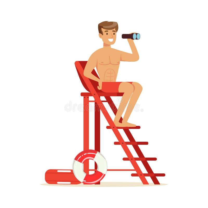 Maître nageur masculin s'asseyant sur la tour de surveillance et regardant les jumelles, sauveteur professionnel sur l'illustrati illustration stock