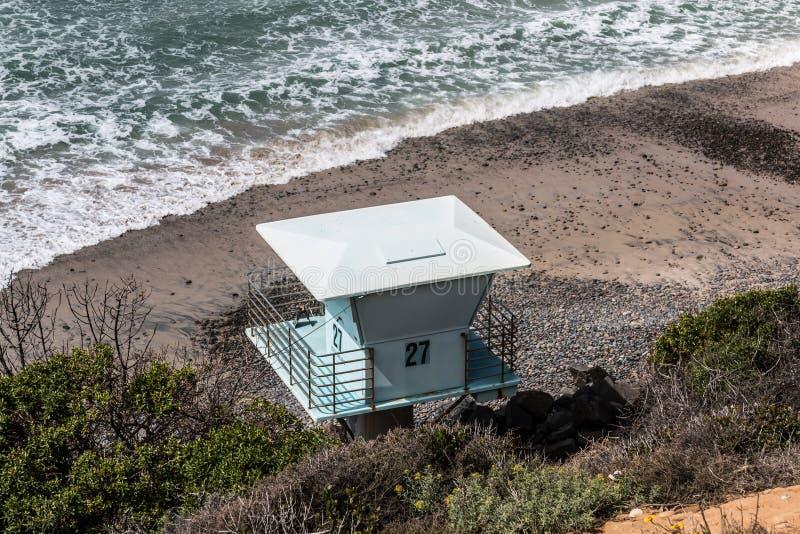 Maître nageur Tower à la plage d'état du sud de Carlsbad photos libres de droits