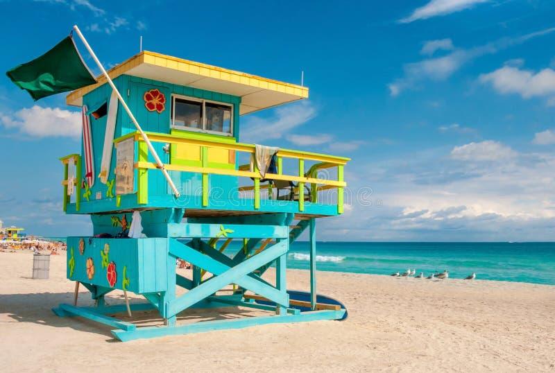 Maître nageur Tower en plage du sud, Miami Beach, la Floride image libre de droits