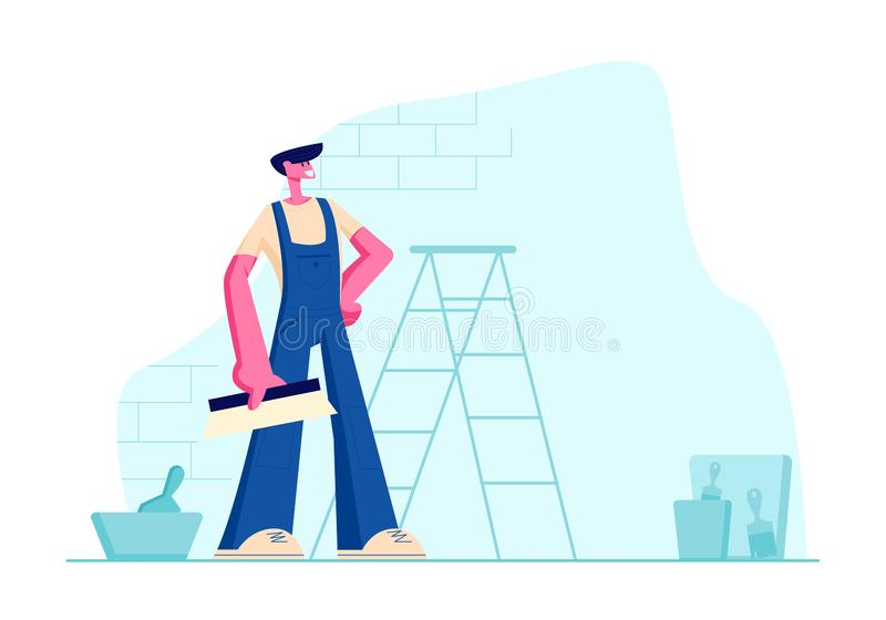 Maître professionnel d'amélioration de l'habitat dans des de façon générale bleus avec le Scrapper à disposition Travailleur de l illustration libre de droits