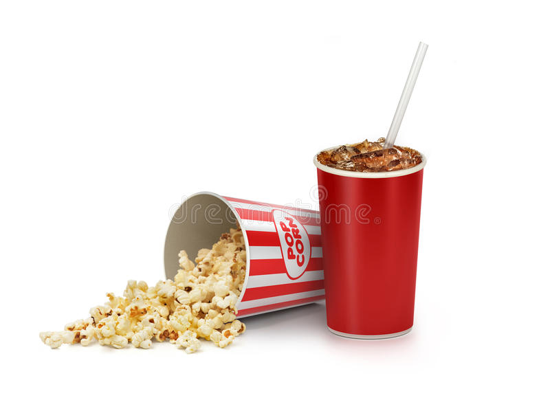 Maïs éclaté dans le seau rayé avec le kola dans la tasse à emporter illustration libre de droits