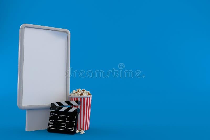 Maïs éclaté et bardeau avec le panneau d'affichage vide illustration de vecteur