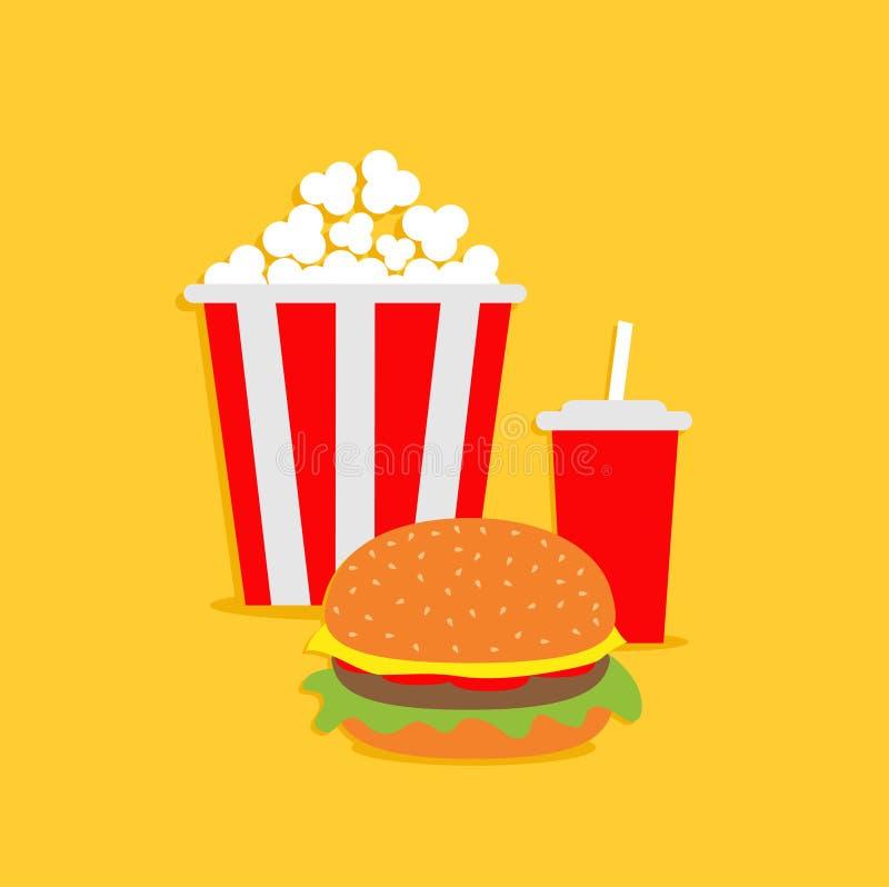 Download Maïs éclaté, Hamburger, Soude Avec La Paille Icône De Cinéma Dans Le Style Plat De Dsign Illustration de Vecteur - Illustration du dessert, nourriture: 45369305