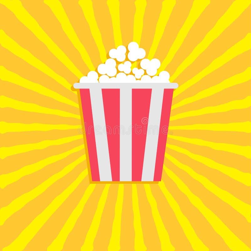 Maïs éclaté Icône de film de cinéma dans le style plat de conception Fond de vawe de Starburst illustration stock