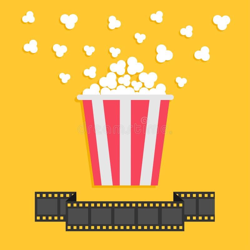 Maïs éclaté Ligne de ruban de bande de film Boîte jaune rouge Icône de soirée cinéma de cinéma dans le style plat de conception illustration stock