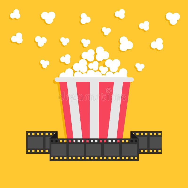 Maïs éclaté Ruban de bande de film Boîte jaune rouge Icône de soirée cinéma de cinéma dans le style plat de conception illustration stock