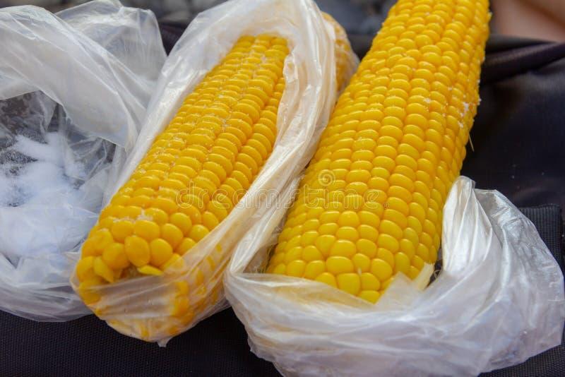 Maïs bouilli avec du sel dans des sachets en plastique photographie stock libre de droits