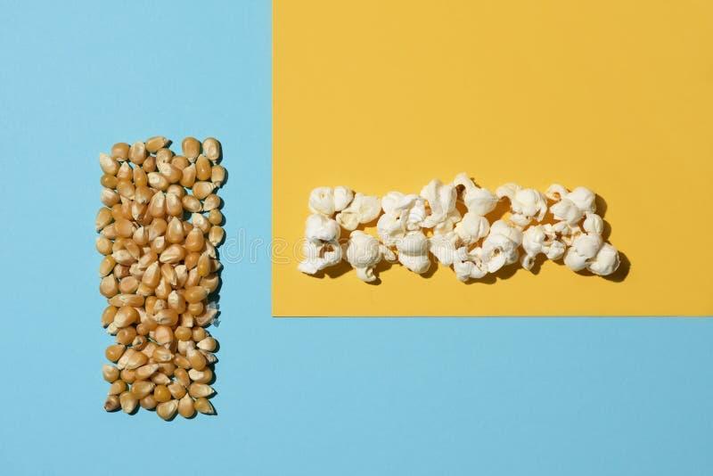 Maïs et maïs éclaté d'Unpopped photo stock