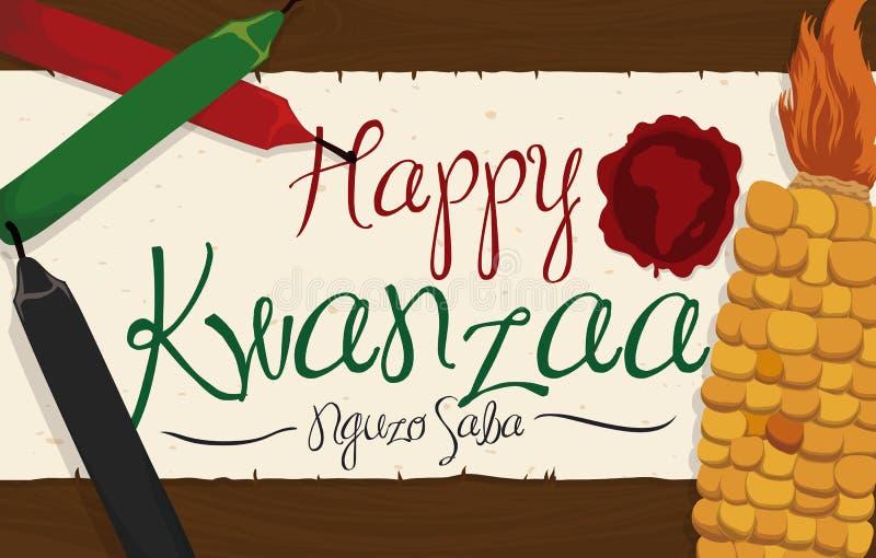 Maïs et bougies avec le rouleau de salutation avec le timbre pour Kwanzaa, illustration de vecteur illustration libre de droits