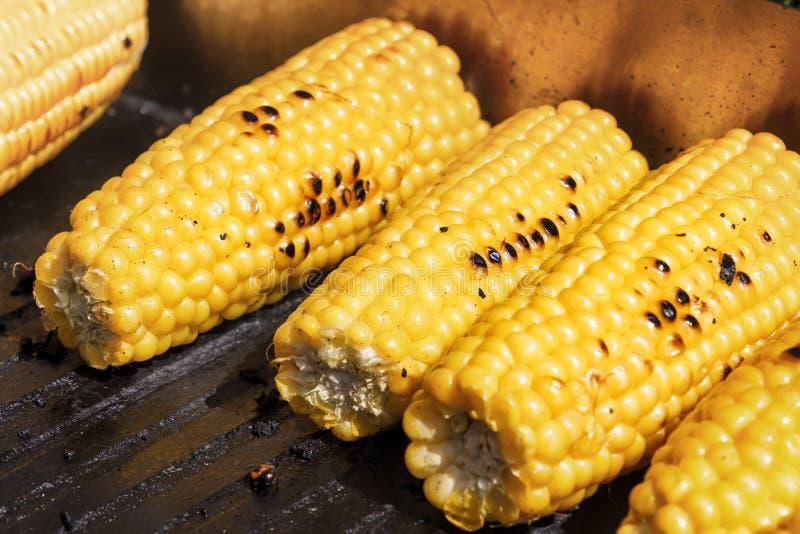 Maïs grillé sur le gril image stock