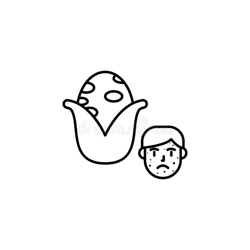 Maïs, icône allergique de visage Élément des problèmes avec l'icône d'allergies Ligne mince icône pour la conception de site Web  illustration stock