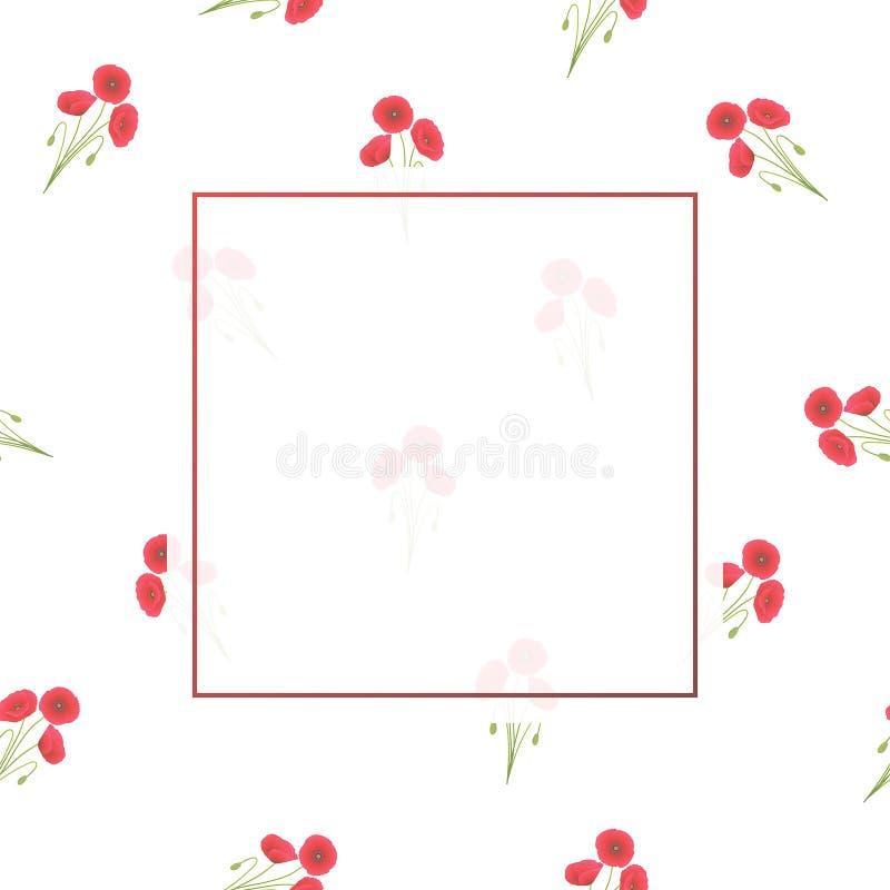 Maïs rouge Poppy Banner sur le fond blanc images stock