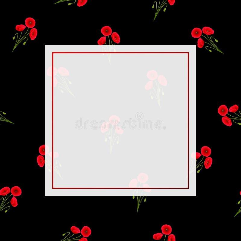 Maïs rouge Poppy Banner sur le fond noir photographie stock