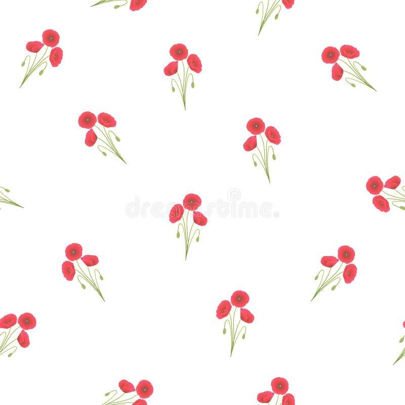 Maïs rouge Poppy Seamless sur le fond blanc photos stock