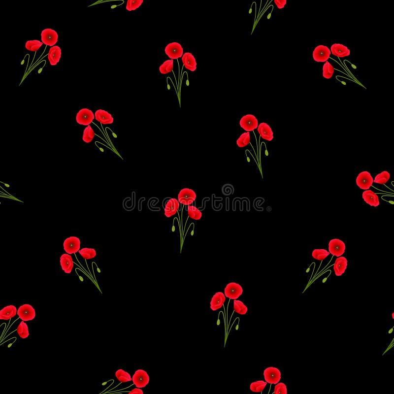 Maïs rouge Poppy Seamless sur le fond noir photos stock