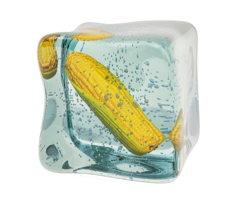 Maïs, suikermaïs, bevroren in een ijsje, 3D-destructie stock foto's