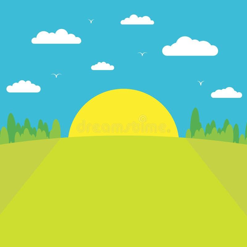 Mañana azul El sol sube de detrás el bosque contra un cielo azul con las nubes y los pájaros stock de ilustración