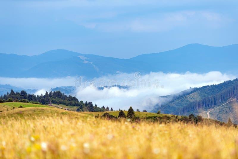 Mañana brumosa en las montañas foto de archivo libre de regalías