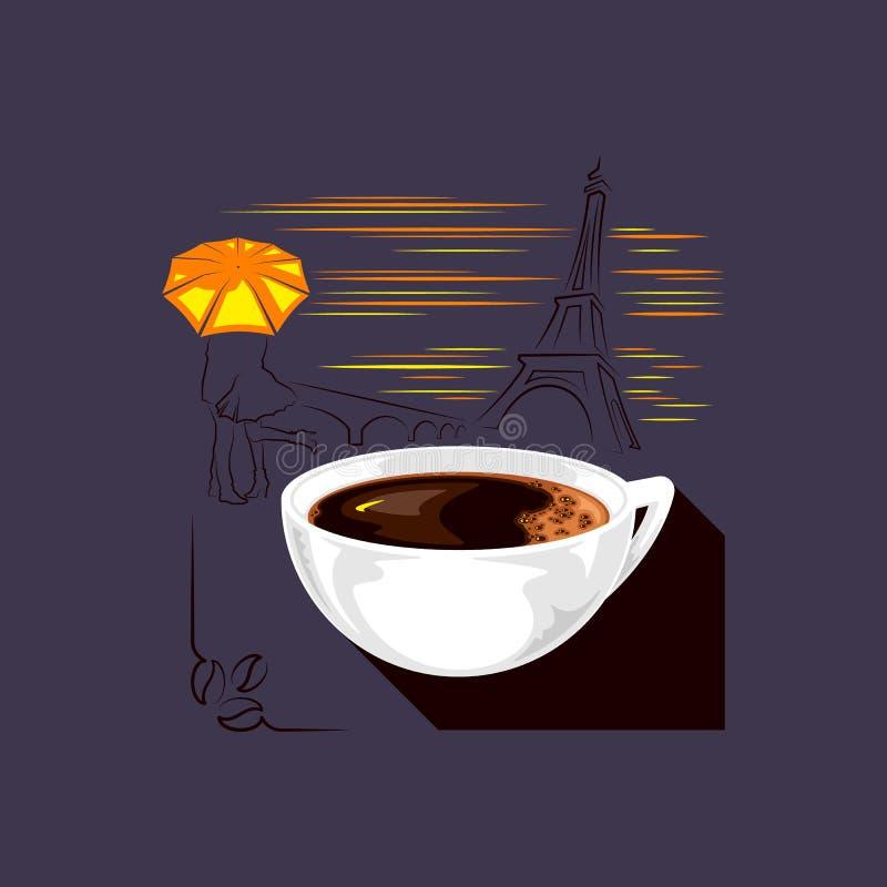 Ma?ana-caf?-Par?s stock de ilustración