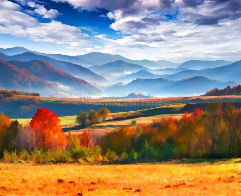 Mañana colorida del otoño en las montañas fotografía de archivo libre de regalías