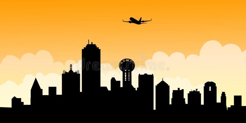 Mañana Dallas Skyline-Vector stock de ilustración