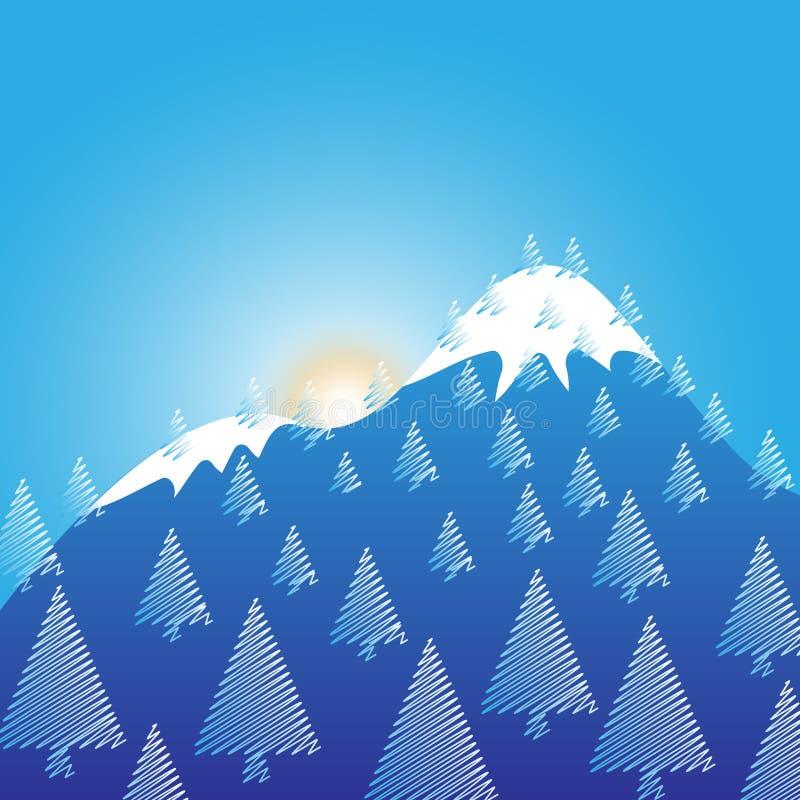 Mañana de la Navidad en la montaña stock de ilustración