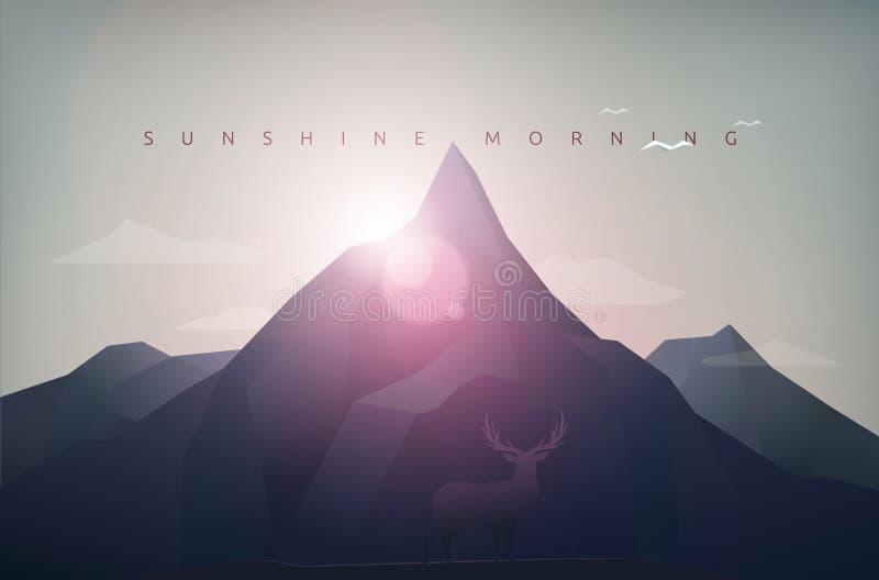 Mañana de la sol de la montaña libre illustration