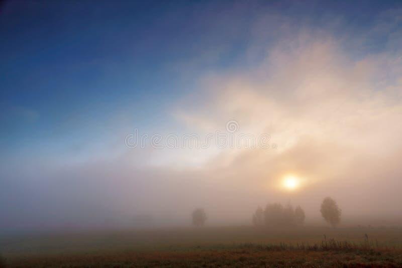 Mañana de niebla colorida del otoño Cielo y nubes foto de archivo
